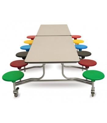 RECTANGULAR MOBILE FOLDING TABLE SEATING UNITS