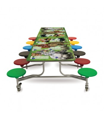RECTANGULAR SMART TOP MOBILE FOLDING TABLE SEATING UNITS